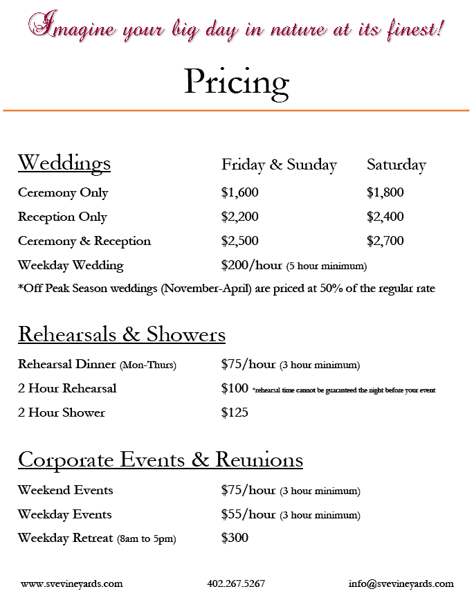 Heritage hall pricing